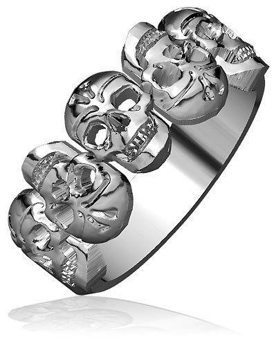 Skull Band, 5 Alternating Skulls, 9.5mm in 10k Gold | jewelryany. Little pricey but beautiful