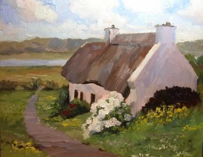 Thatched Roof Cottage Ireland Original Art Painting By Roxanne Steed