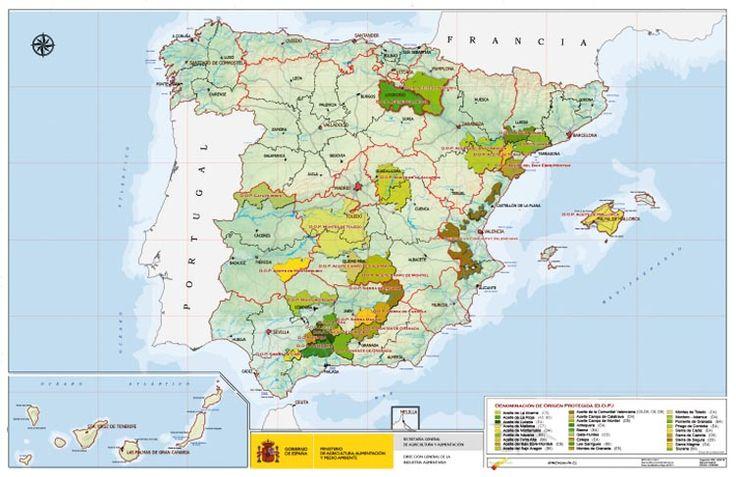 Mapa de los Aceites de Oliva Virgen españoles con DOP