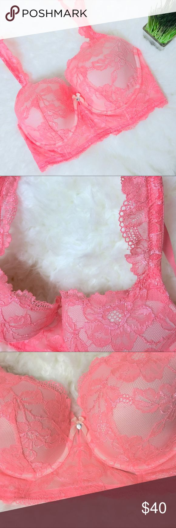 NWOT Victoria's Secret Body By Victoria Lined Demi NWOT Victoria's Secret Lined Demi 36DD Orangy/Pink color.  Thick corset type bra with scalloped lace straps and lace overlay.  I also have a Lavender one like this in my closet. Victoria's Secret Intimates & Sleepwear Bras