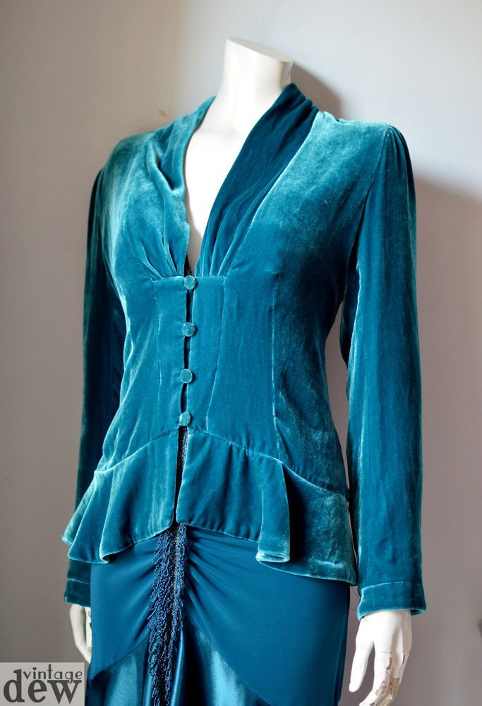 "Stunning TEAL blue VELVET edwardian DOWNTON ABBEY jacket CARDIGAN silk 12 38"" in Clothes, Shoes & Accessories, Vintage Clothing & Accessories, Women's Vintage Clothing 