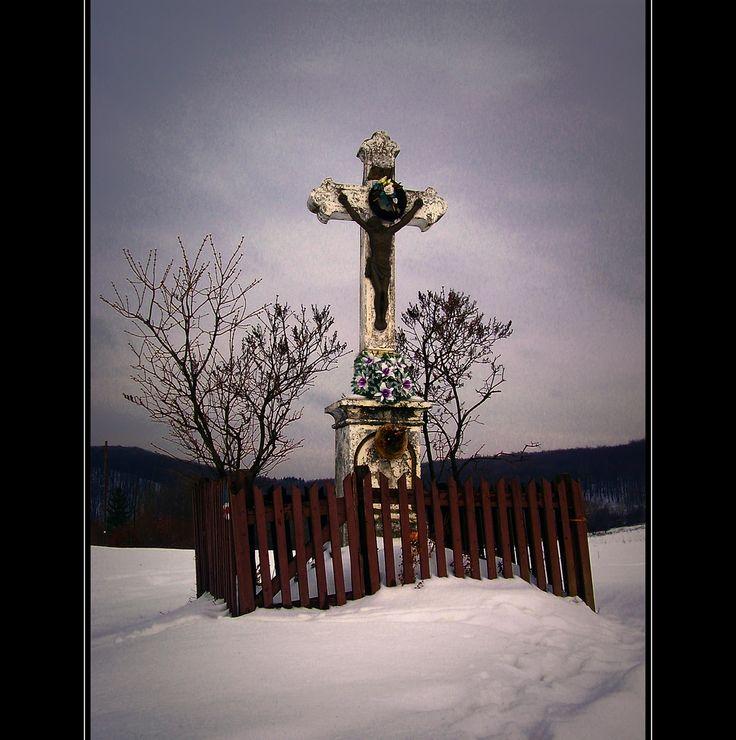 Útszéli kőkereszt / Roadside stone cross - Bükkszentkereszt, Hungary
