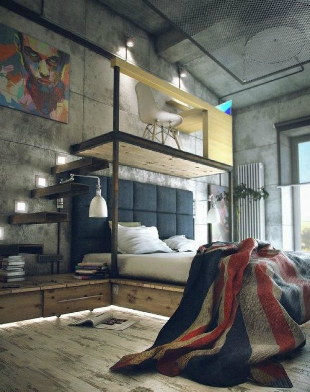 Bringing New York Loft Style Into The Bedroom. Industrial Bedroom  DesignIndustrial ...