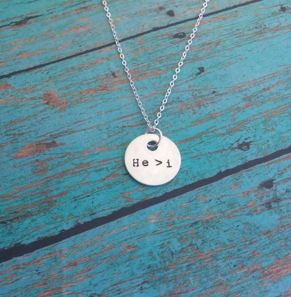 He is Greater than I / Hand Stamped Sterling Silver jewelry by GracefullyMine, $26.00
