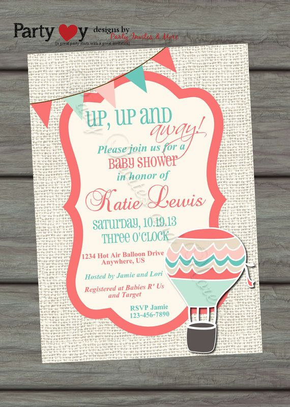 Hot Air Balloon Baby Shower Invitation, Coral, Teal, Blue, Pink, Burlap, Digital Invitation, DIY, Banner