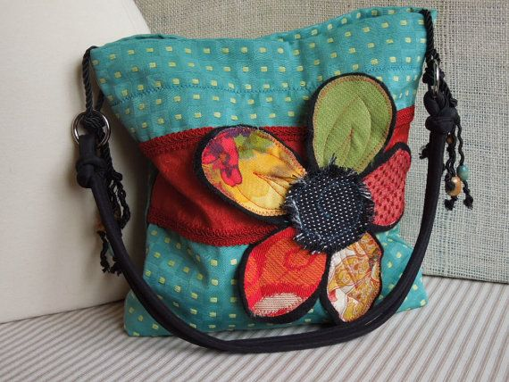 TURQUOISE & RED Shabby Chic Purse, Aqua Blue Slouch Purse, Floral Applique Bag