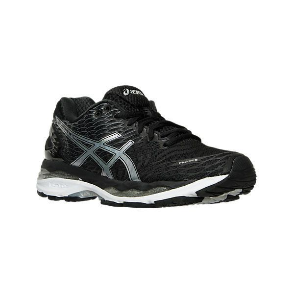 Asics Women's GEL-Nimbus 18 Running Shoes, Black|Grey (€135) ❤ liked on Polyvore featuring shoes, athletic shoes, asics athletic shoes, gray shoes, breathable shoes, grey shoes and athletic footwear
