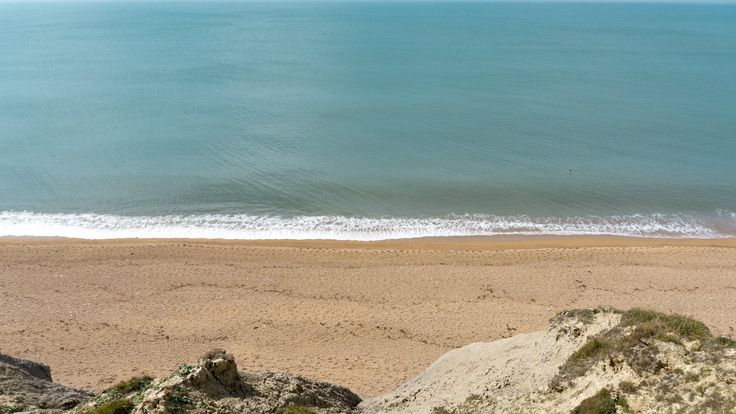 Beach line at Golden Cap, Dorset, England