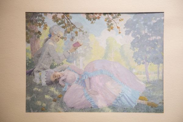 К. Сомов «Прогулка», 1916, бумага на картоне, гуашь