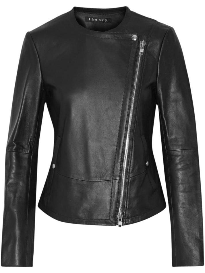 Theory Joean Leather Biker Leather Jacket. Free shipping and guaranteed…