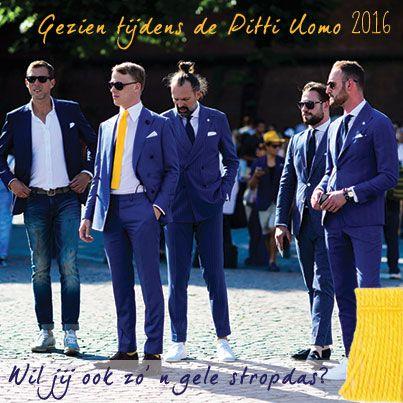 Gezien tijdens de Pitti Uomo 2016. Gele gehaakte stropdassen.