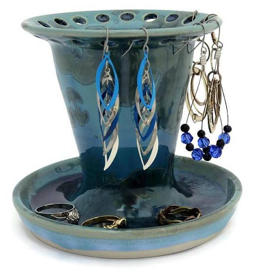 Deep Green and Turquoise Jewellery Holder for Rings Necklaces
