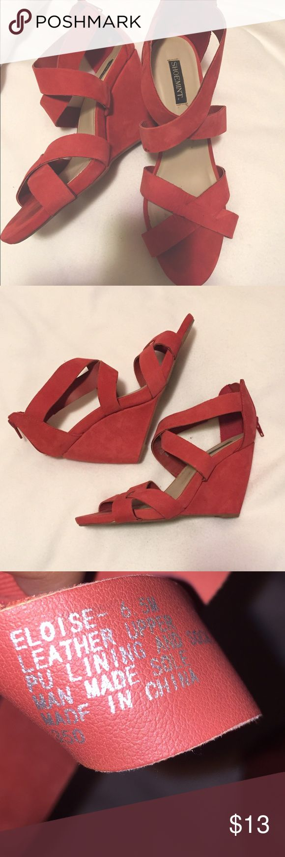 Coral wedges From ShoeMint. Zipper back. Shoemint Shoes Wedges