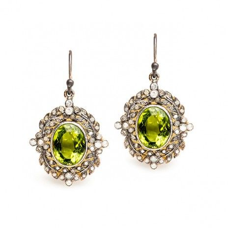 edwardian peridot earrings / trumpet & horn