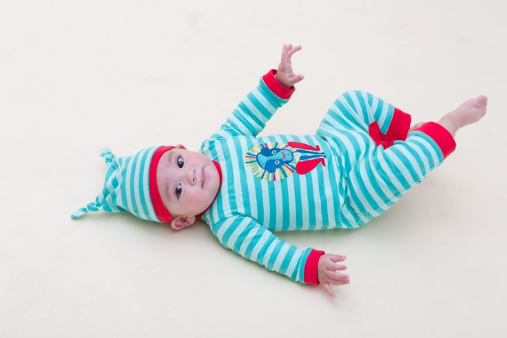 Lazarus Lion Babygrow and Baby knotted Hat in turquoise stripe with red trim