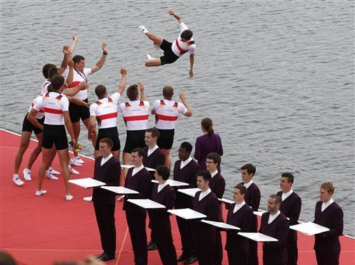 It had been 24 years since Germany last won the most significant race in Olympic rowing, so they didn't miss the chance to celebrate. The German men's eight team tossed coxswain Martin Sauer high in the air and into Dorney Lake after out-dueling Canada, Great Britain and the United States to take gold.