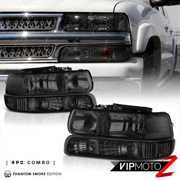 For 99 02 Chevy Silverado Titanium Smoke Headlight Bumper Turn Signal Lamp Lh Rh Ebay Chevy Silverado Chevy Silverado