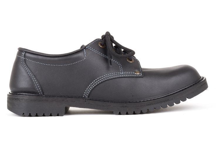 Black leather lace-up school shoe. Removable insole. Can be worn with own orthotics. Leather upper. Rubbergrip tread sole. Made in Dunedin, New Zealand.