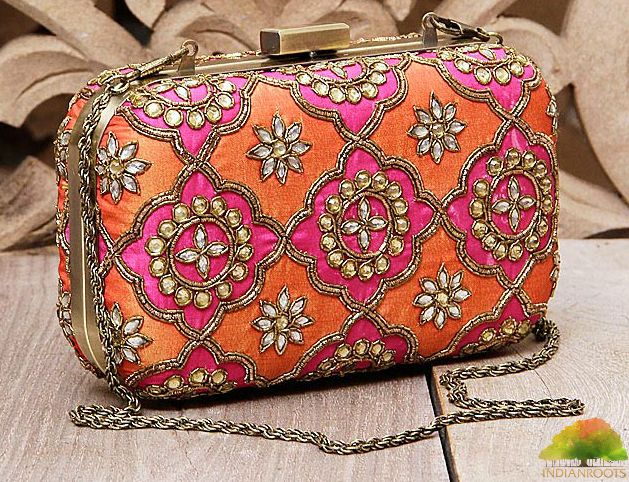 Fuchsia & #Orange Honeycomb Zardozi Silk #Clutch by Karieshma Sarnaa at Indianroots.com