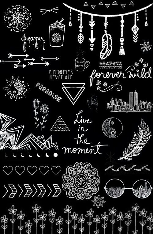 black and white, wallpaper, overlays transparent, tumblr ...