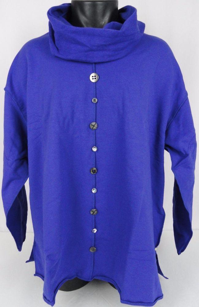 NWT Neon Buddha Womens Plus 2X Cowl Neck Pullover Top Kanchana Royal Blue New #NeonBuddha #KanchanaPullover #Any