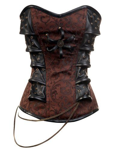Steampunk Brown Corset With a Chain Detail. I want.