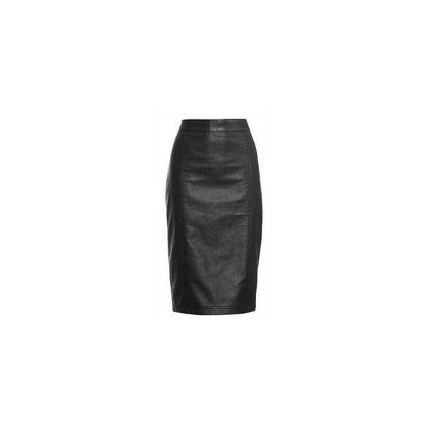 Roxy PU Leather Skirt (£40) ❤ liked on Polyvore featuring skirts, pleather skirt and leatherette skirt