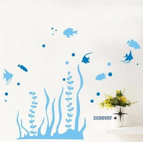 ocean fish seaweed aquarium----Graphic removable Vinyl wall decals stickers home decor. $28.95, via Etsy.