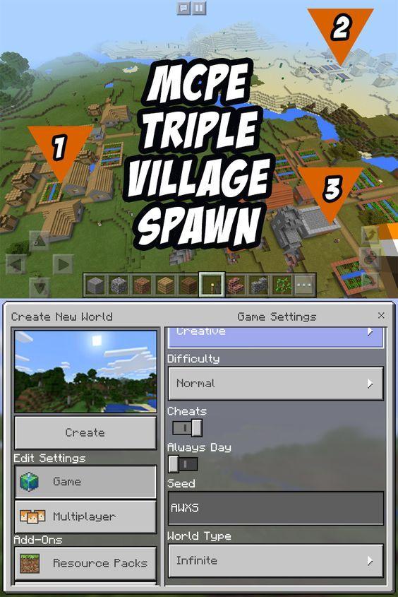 MCPE Triple Village Seed! Seed:AWXS