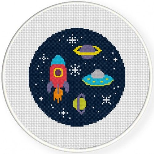 Space Adventure Cross Stitch Illustration