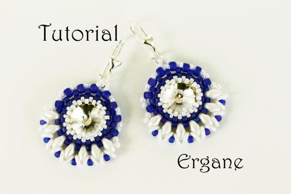 Very cute earrings with 12mm rivoli. It will look great in any color combination.   This tutorial is for beginner Beaders.   #beading #beadingtutorial #beadingpattern #earrings #jewelry #beadedearrings