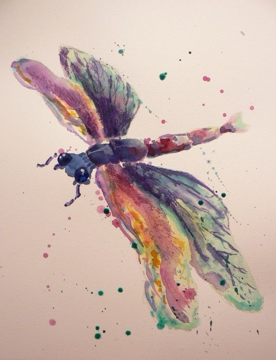 watercolor Dragonfly  | DRAGONFLY Art - Original Watercolor Painting 8x10 by…
