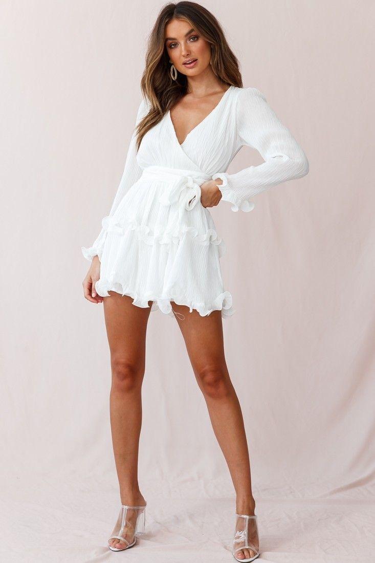 Greta Tiered Ruffle Chiffon Dress White White Dresses For Women Chiffon Ruffle Dress Edgy Dress [ 1100 x 733 Pixel ]