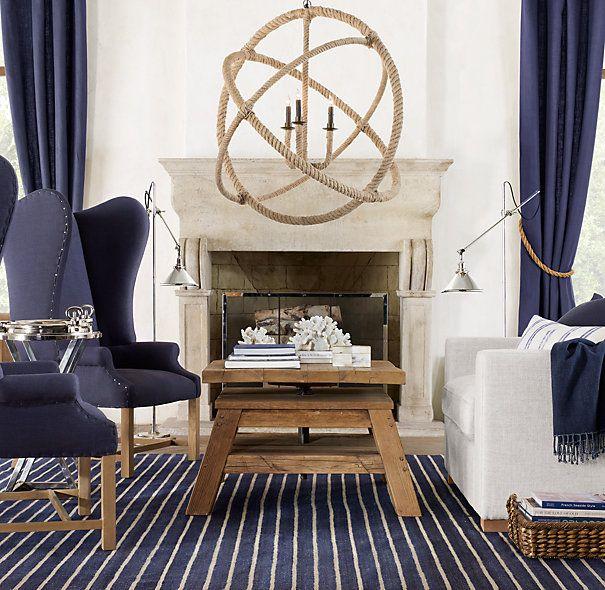 Driven By Décor: Nautical Rope Lighting FixturesLights, Blue Interiors, Restoration Hardware, Interiors Design, Living Room, Ropes, Restorationhardware, Design Blog, Decor Blog