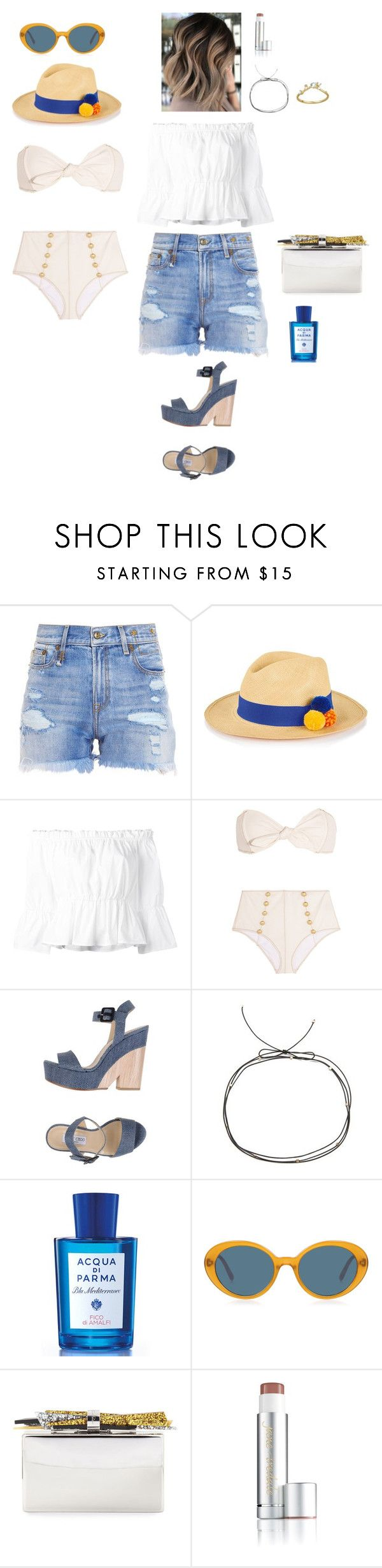 """""""Sorrento Travel Outfits"""" by leacousty55 ❤ liked on Polyvore featuring R13, G.Viteri, Dondup, Lisa Marie Fernandez, Jimmy Choo, Cloverpost, Acqua di Parma, Oliver Peoples, Edie Parker and Jane Iredale"""