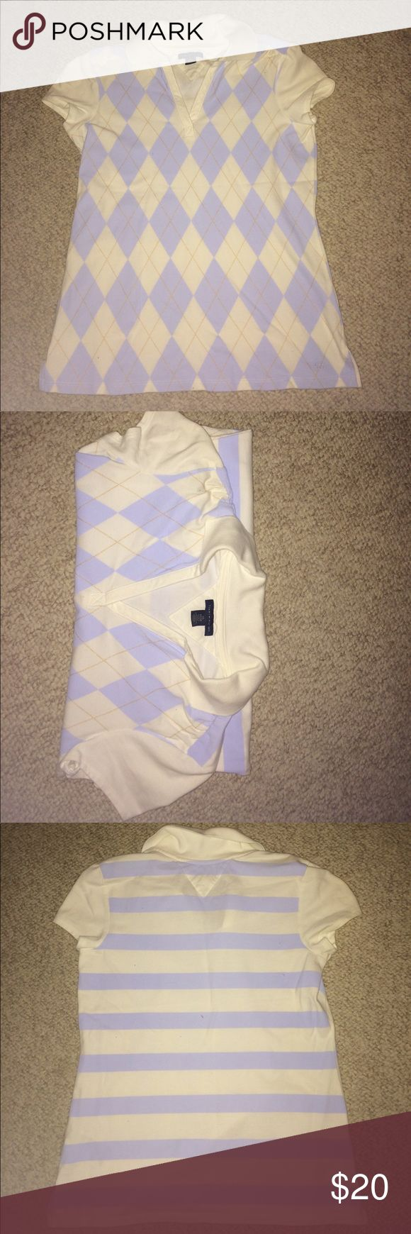 Tommy Hilfiger Women's V-Neck Collared Top Beautiful women's collared top with v-neck. Great for many occasions. Light blue, white, and gold diamond pattern on front, light blue and white stripe pattern on back. Thick t-shirt material. Never worn. Tommy Hilfiger Tops Tees - Short Sleeve