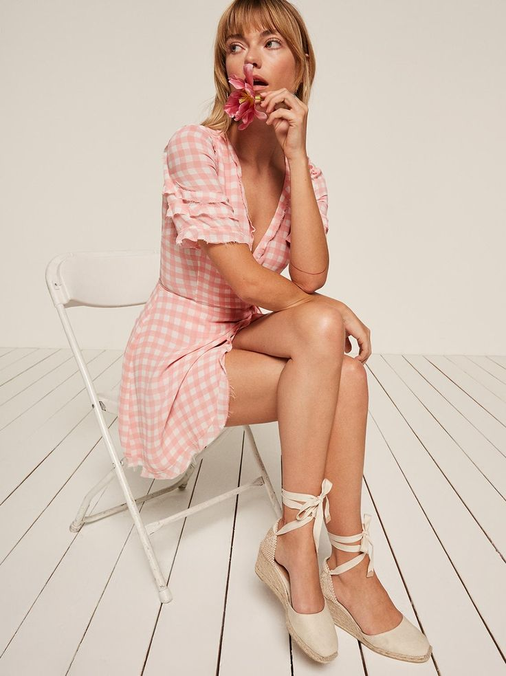 Leanna pink gingham ruffle wrap dress Reformation