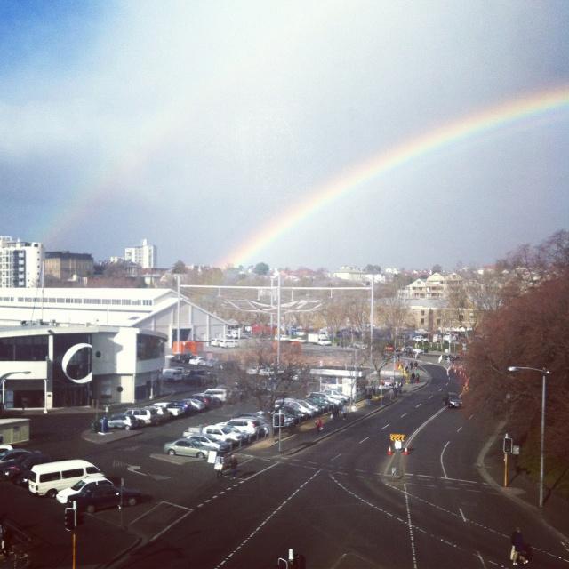 Rainbow over Salamanca Place, Hobart <3