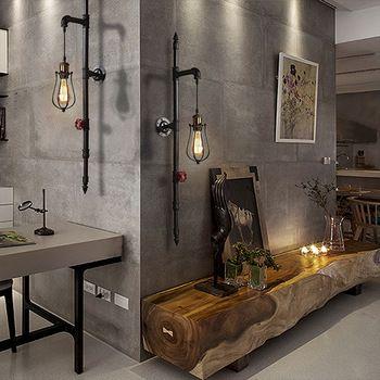 Ностальгические старинные водопровод из кованого железа вверх-лестницы светильник украшения e27 освещение