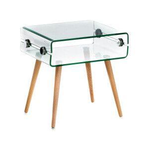 Table basse Vivid en verre et bois   transparent  50 x 40 x 40 cm