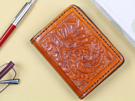 Floral Hand Carved Leather Wallet  Credit by TinasLeatherCrafts. Repin To Remember.
