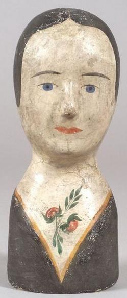 Origin: France  Year: 1801 - 1900    A Papier-Mache milliner's female head…