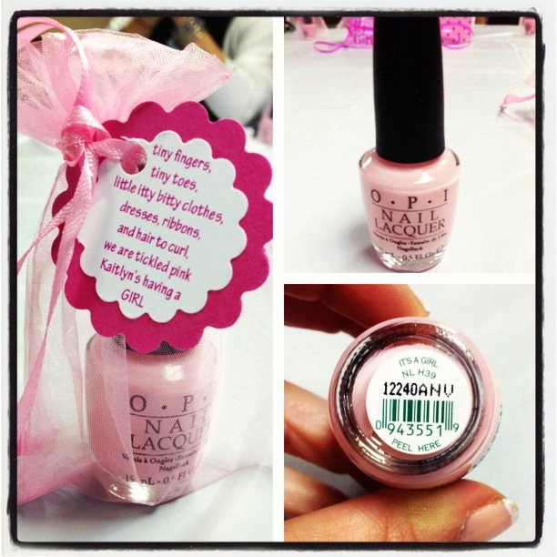 Baby shower favor tag! Love the little poem @Beckie 'beckerella' Munson Jones . Meghann did different shades of pink nail polish with Japanese Cherry Blossom hand sanitizer because her theme is pink cherry blossoms. I thought that was really cute!