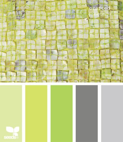 crafted neonBathroom Colors, Design Seeds, Colors Schemes Green, Crafts Neon, Colors Palettes, Colors Palette- Limes, Neon Colors, Limes Green Painting Colors, Colours Palettes