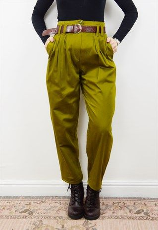 Vintage+90s+olive+green+cotton+high+waisted+trousers+PETITE+