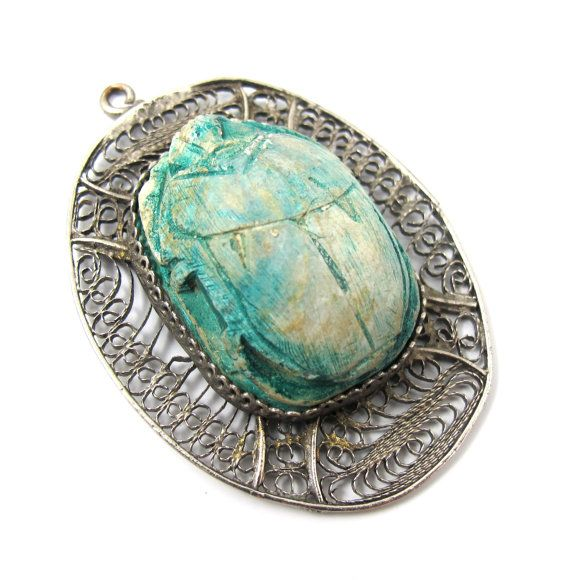 Egyptian Scarab Necklace Pendant, Huge Silver Filigree ...