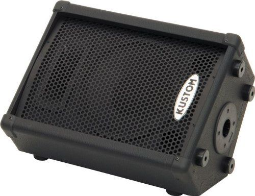 """Kustom KPC10MP 10"""" Powered Monitor Speaker by Kustom. $169.99. The Kustom KPC10MP is a 50-watt powered monitor speaker with an angled wedge design, a 10' Kustom-built loudspeaker and a piezo HF driver. It is tuned to deliver rich, balanced tonality while accurately reproducing a wide variety of audio content. The Kustom KPC10MP powered monitor speaker provides balanced XLR and TRS 1/4"""" (balanced/unbalanced) input jacks. These may be used to connect a wide variety ..."""