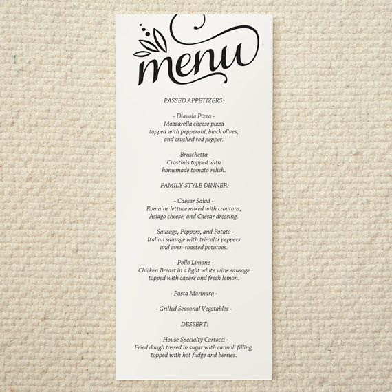 Best Wedding Menu Template Images On   Wedding Menu