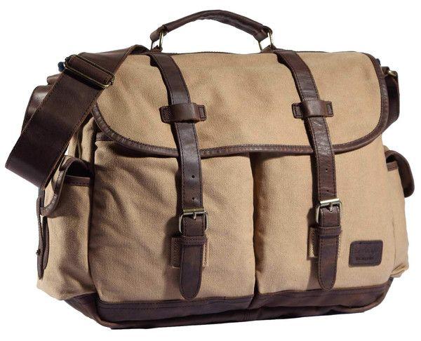 "High-End Canvas & Italian Leather Messenger Bag - 17"" Laptop"