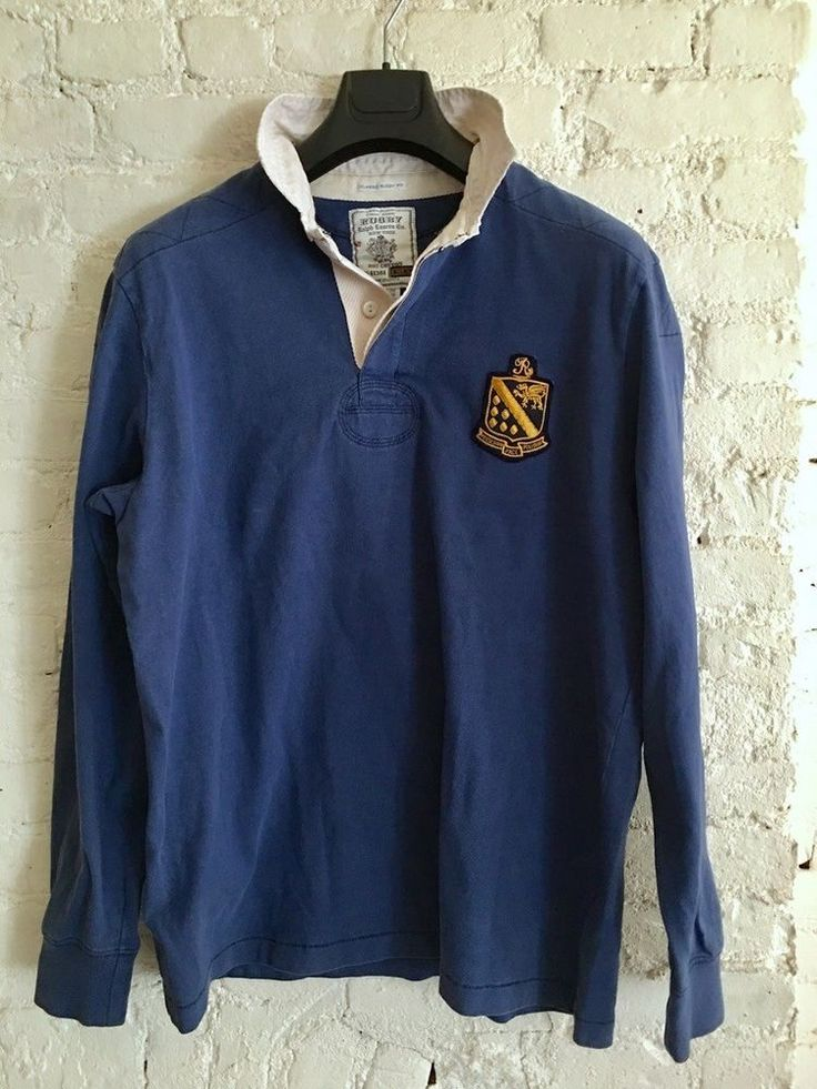 Ralph Lauren Rugby Long Sleeve Shirt Size Large 100 Cotton Blue White
